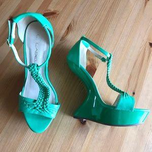 C. Label Jade Green Faux Leather No Heel Platforms